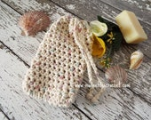Ecru Beige Soap Saver Bag Drawstring Washcloth Sack Spa Bath Pouch Spa Natural Cotton Handmade Gift Basket Idea