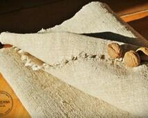 Homespun Linen Hemp Per 1Yard lenght - Antique European Grain Sack fabric - upholstery hemp fabric