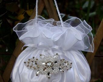Bridal Purse White Satin Crystal Tulle Rhinestones Pearls