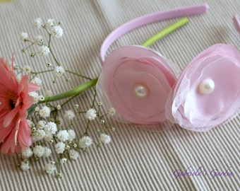 Pale Pink Organza and Satin Flowers and Pearl, Pale Pink Headband