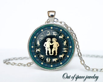 Gemini Necklace, Gemini Pendant Gemini jewelry Zodiac Sign Pendant, Constellation Jewelry Art gift for men for women Golg