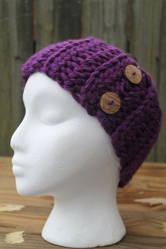 Knitting Pattern Ribbed Headband : Purple Chunky Ribbed Crochet Headband Earwarmer by ...