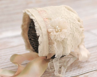 Lace and homespun newborn bonnet, newborn girl hat, newborn cream hat, vintage style bonnet-newborn photography prop