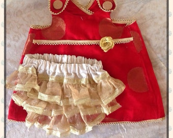 Indian Ethnic Crossover Pinafore red and gold with ruffled diaper cover