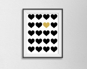 Black and Gold Heart Poster. Modern Wall Art. Bedroom Decor. Office Art. Love Poster. Anniversary Present. Minimalist.