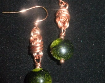 Copper Coil Drop Earrings with Green Stones