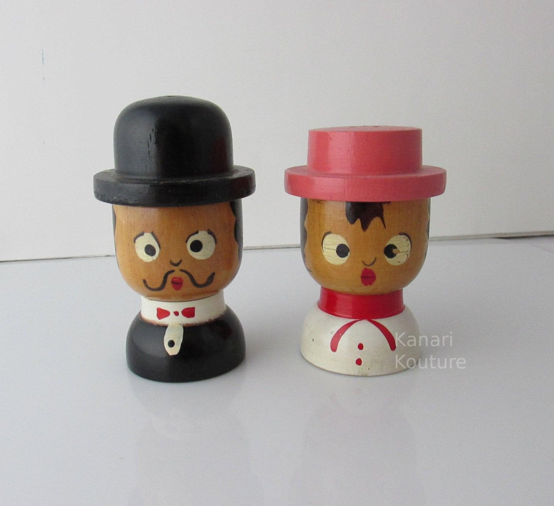 Cute Couple Wooden Salt Pepper Shakers Japan 1950s Retro