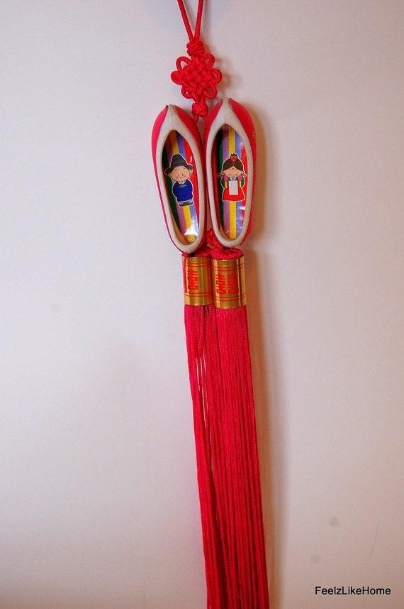 Vintage Wall Hanging Home Decor Korean Asian Shoes Long Tassel