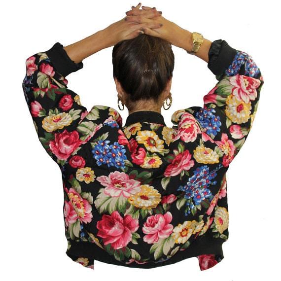 Vintage 90s Floral Bomber Flower Print Jacket by BunLoveOneLove