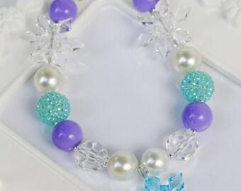 Frozen purple Chunky Necklace, Frozen inspired girls Snowflake necklace, Frozen necklace,Elsa, Elsa with Purple Necklace, Frozen Necklace