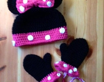 Minnie Mouse Hat And Mitten Set Crochet Hat And Mittens