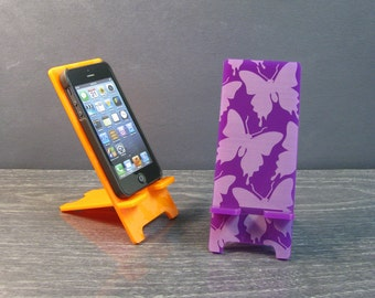 Butterfly Pattern Phone Stand - 5 Sizes - Galaxy S5, S4, S3 - iPhone 6, iPhone 6 Plus, iPhone 5, iPhone 4, Universal,  9 Colors Acrylic