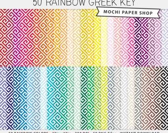 Greek Key Digital Paper Download, Rainbow Colors Cardmaking, Colorful Geometric Pattern, Scrapbook Background, Digital Greek Key PNG Files