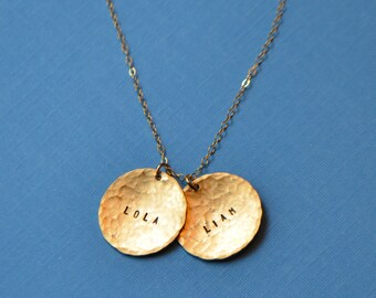Gold Disc Name Necklace - Gold Filled Personalized Necklace