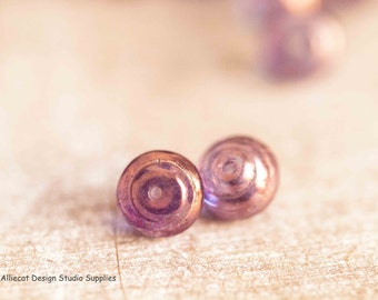20 Lumi Amethyst 8mm Snail Baroque Czech Glass Beads (A337)