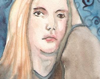 Blond in a Blanket - Original Watercolor Painting