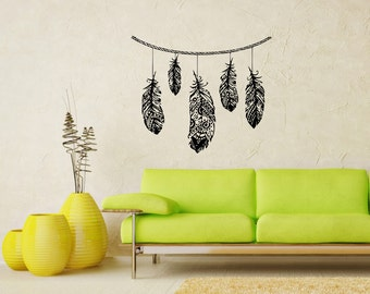 Feathers Fashion Hippie Housewares Wall Vinyl Decal Art Design Mural Modern Home Interior Decor Stylish Sticker SV5217