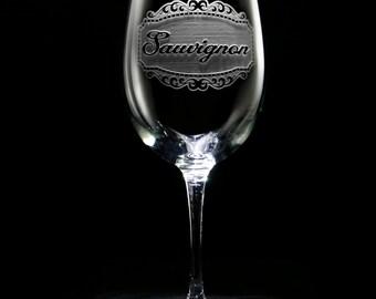 Engraved Sauvignon Wine Glass