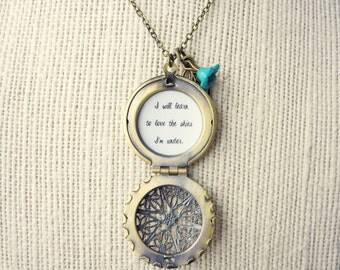 I Will Learn To Love The Skies I'm Under Handcrafted Brass Locket Necklace with Leaf & Flower Charm