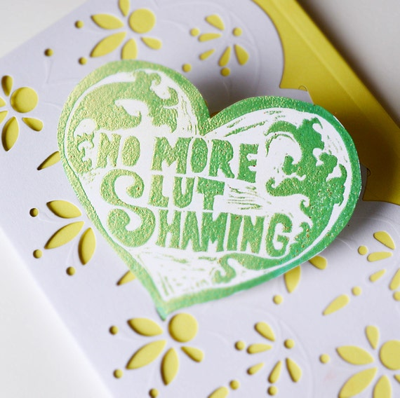 No More Slut Shaming: Glittery Feminist Sticker
