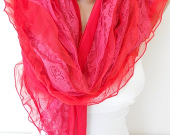 NEW Tulle Scarf Shawl Lace Scarf Red Scarf Cowl Scarf Red Wedding Scarf Summer Scarf Women Fashion Accessories Christmas Gift Ideas For Her