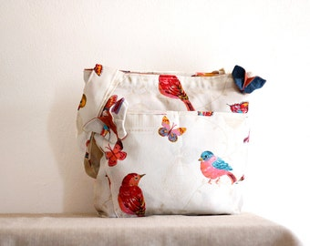 Large tote bag with birds and butterflies,ooak