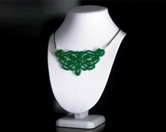 Art Nouveau Inspired Laser Cut Acrylic Bib Necklace in Dark Green