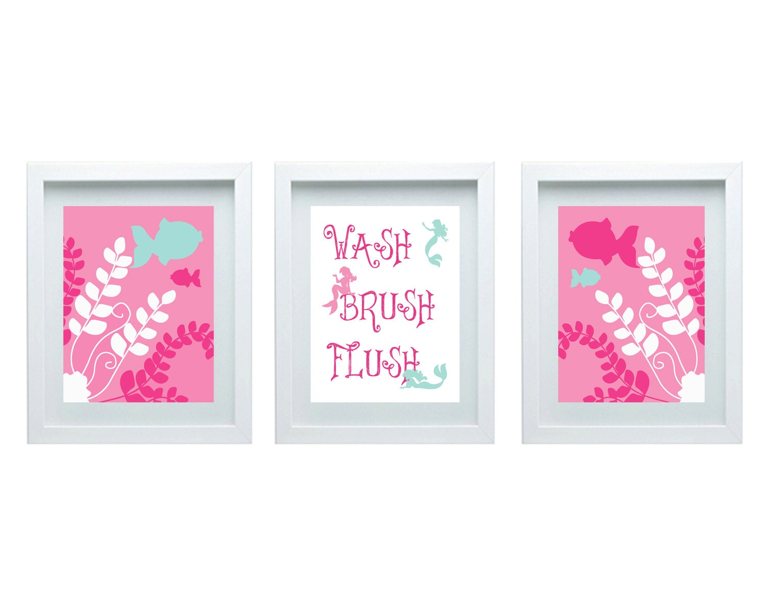 Bathroom Rules Girls Bathroom Decor Mermaid Art Pink Aqua Set