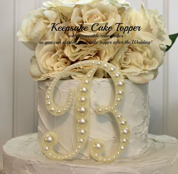 Cake Decor Pearls : Pearl Monogram Wedding Cake Topper Pearl Cake Topper Vintage