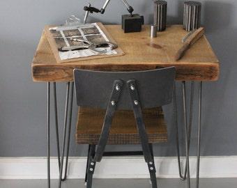Reclaimed Wood Desk, Urban Wood Architect Desk  Reclaimed Barn Wood and Hairpin Legs  , Reclaimed
