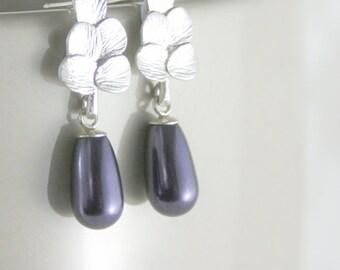 Purple pearl earrings, Pearl earrings, Petite pearl earrings, Small pearl earring, Teardrop pearl earrings, Purple wedding, Purple earrings