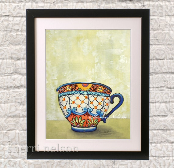 Kitchen Folk Art: Items Similar To Talavera Tea Cup Art Print Mexican