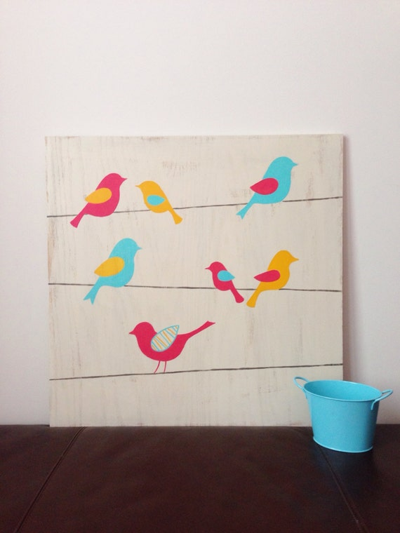 Wall Painting Designs Birds : Birds on a wire bird nursery art woodland by sweetbananasart