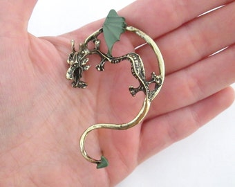 Gothic dark green dragon ear cuff wrap