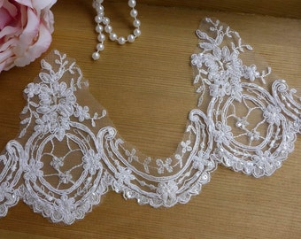Luxury Beaded Lace Trim, Ivory Flower Scalloped Trim, Bridal Veils Lace Trim, Wedding gloves lace