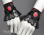 PAIR of Little red Cuffs, Lolita Red rose Style, Beautiful cute Fashion, Elegant Goth Wedding, Victorian inspired, Fabric cameo, Red corsage