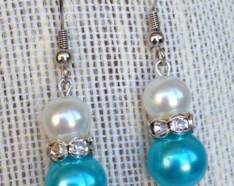 Turquoise Wedding Jewelry, Turquoise Earrings, Rhinestone Earrings, Turquoise Pearl Earrings, Bridesmaid Gift, Turquoise Bridesmaid Jewelry