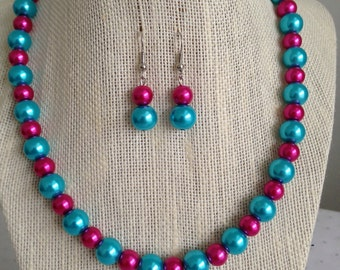 Turquoise and Pink Bridesmaid Necklace Turquoise and Pink Wedding Bridesmaid Necklace Bridesmaid Gift Turquoise Wedding Jewelry