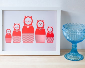 Russian doll cats. A4 screenprint. Red cats print. Handmade in Brighton.