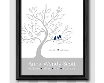 baby boy birth print, birds tree baby room art, new baby boy gift, personalized baby gifts, custom baby stats wall art, birth date print