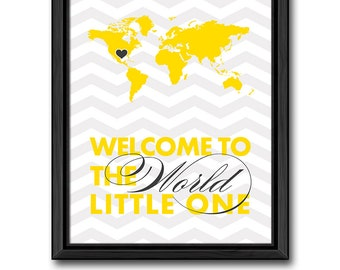 yellow gray baby room decor, travel theme nursery art, welcome to the world baby, world map kids wall art, map baby room art, baby gift