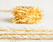 Tinsel Twine in Gold - 6 Yards - Christmas Holiday Ribbon Cord Metallic Garland Pretty Packaging Gift Wrapping Wedding Fun Retro Party Decor