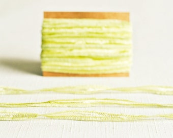 Fringe Ribbon Twine in Light Green - 6 Yards - Shimmer Mesh Sheer Mint Delicate Garland Pretty Packaging Gift Wrapping Wedding Party Decor
