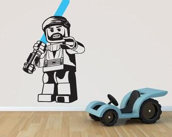 OBI WAN KENOBI Lego Star Wars Wall Art, Wall Stickers, (large 58cm ( Part 59