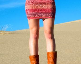 SWEATER KNIT crochet  purple, pink, orange stripe stretchy dance burning man beach resort  yoga festival mini skirt or shorts
