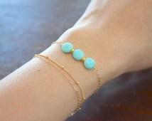 Amazonite Trio Bracelet, Gold Filled Chain