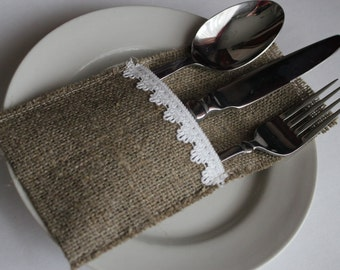 Wedding Burlap Silverware Holders with white lace - Rustic table decor - Set of 50