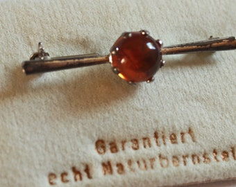 Vintage amber brooch, silver dead stock new old stock mid century modern