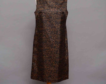 1960's Mod Shift Dress With Black & Brown Abstract Print Medium Size UK 14