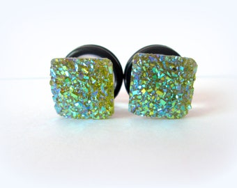 Clearance Sale - Olive Army Green Square Sparkle Druzy Plugs - Available in 2g, 0g, and 00g